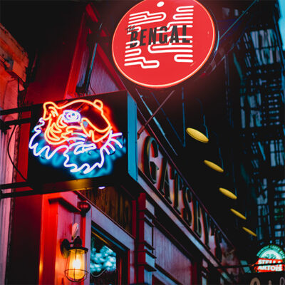 Neon and illuminated projecting bar signs
