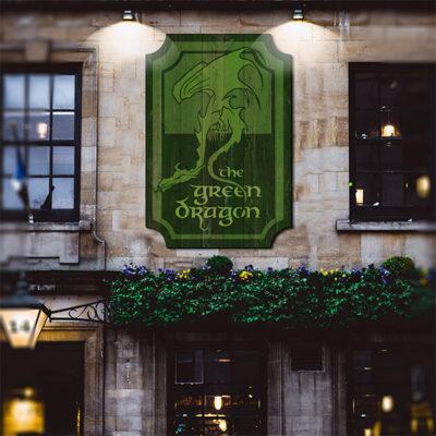 Wooden face lit pub sign