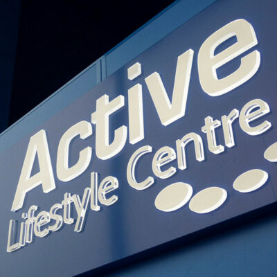 Push through letter signage for Active Leisure in Bristol