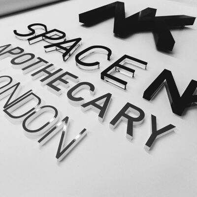 Push through acrylic letter signage for Space NK Apothecary