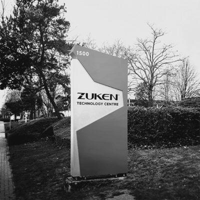 Monolith sign built for Zuken Technology Centre near Bristol