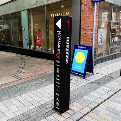 Small monolith sign in a shopping centre