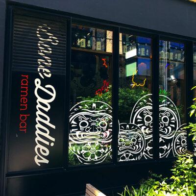 Restaurant window graphics for Bone Daddies