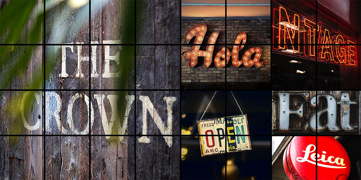 Rustic and Retro Signs Hero Shot Montage