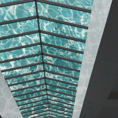 One way vision graphics applied to the inside of rooflights