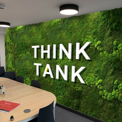 Surface transformation of an office wall with moss effect