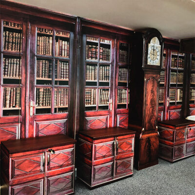 Surface transformation of an office wall into a library