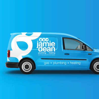 A vehicle graphic for Jamie Dean Plumbing and Heating