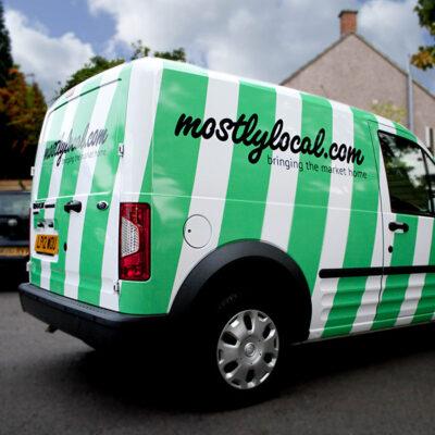 Custom van graphics for MostlyLocal
