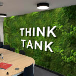 Agency created creative wall graphics made from grass substitute