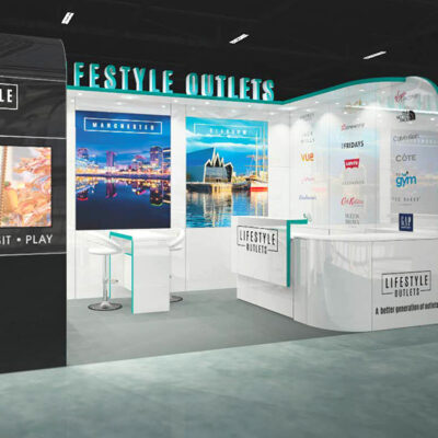 An Exhibition Stand with event graphics