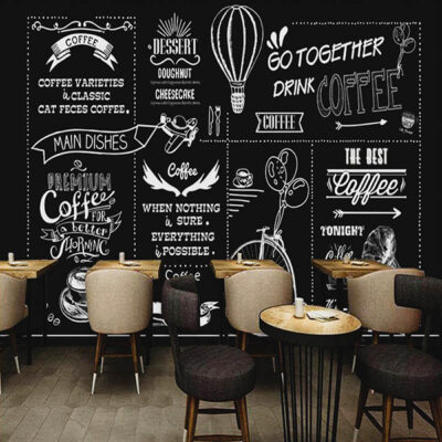 A menu board as a wall graphic or mural