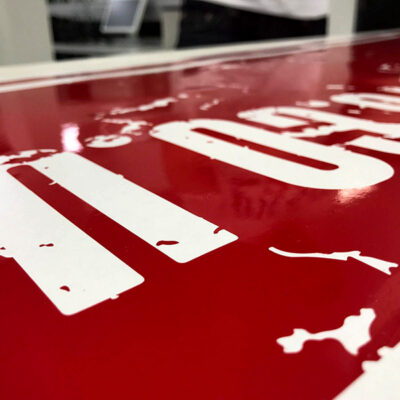contour cut self adhesive vinyl graphics on the work bench