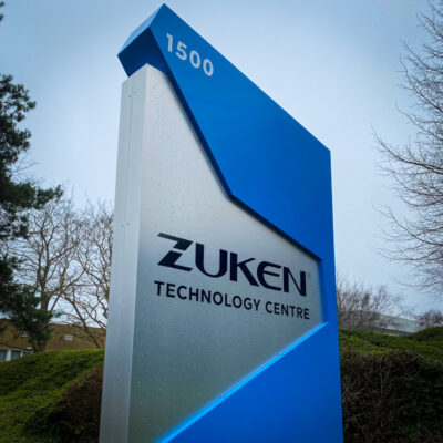 Monolith sign built for Zuken Technology Centre near Bristol