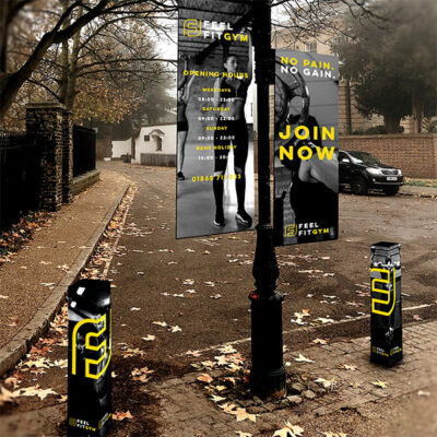 Bollard + Lamp Post Wraps with Banners