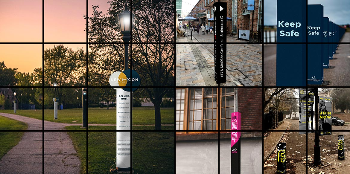 Bollard + Lamp Post Wraps Hero Shot montage