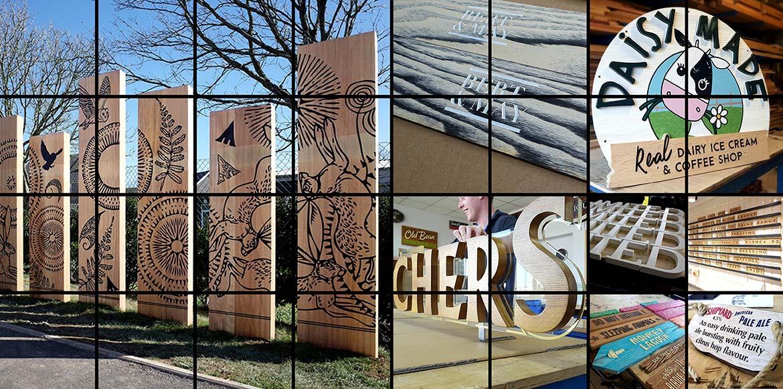 Wooden Signs Hero Shot montage