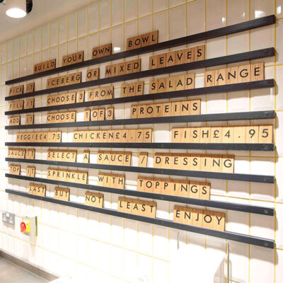 Wooden Signs in a Restaurant